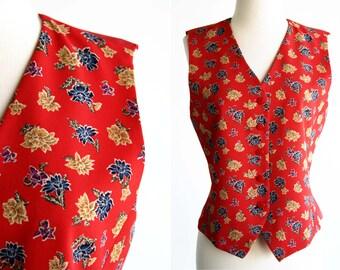 90's Liz Claiborne Red Floral Print Size 6 or Size M Woman's Vintage Vest