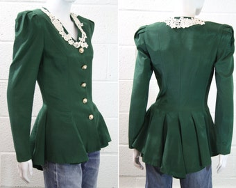 Vintage Hunter Green Peplum High Low Rhinestone Encrusted Buttons Button Up Formal Tafeta Jacket