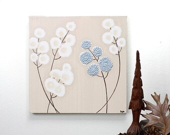 ON SALE Original Acrylic Painting on Canvas - Textured Flower Wall Art - Blue and Brown Decor - Small 10x10