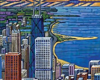 Chicago skyline, Chicago buildings, John Hancock Tower, Gold Coast, Lake Michigan, Chicago Beach 8x10 Art Print