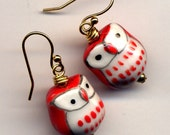 Owl Earrings, 18 K golf Filled Ear wire Owl Earrings, Red White Owl Earrings, Whimsy Hoot Earrings, Bird Earrings, Owl Jewelry by Annaart72