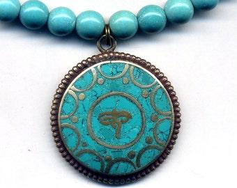 Buddha Eye Nepal Mandala Necklace, Turquoise Tibetan Necklace, Nepal Necklace, Ethnic Necklace, Protection Necklace by AnnaAQrt72