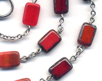 Red, Coral, Wine,Topaz Orange Necklace, Rare Czech Glass Necklace, Silver Plated Metal Chain, OOAK Necklace - handmade jewelry by AnnaArt72