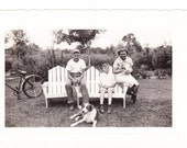 vintage Photo Pretty Woman Mom Teen Boy Pet Cat Dog Bicycle 1930s snapshot