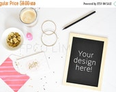 CLEARANCE SALE Styled Stock Photography, white desk w/ notebook, teal, gold, pink, web design background, blogger image, social media image,