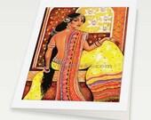 beautiful Indian woman Indian decor feminine beauty Indian bride art, Indian greeting card, woman greeting card, blank art card, 6x8