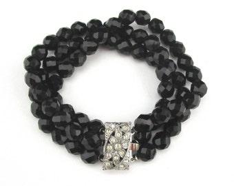 Black Beaded Bracelet Three Strand Rhinestone clasp