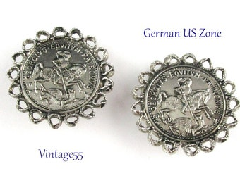 Earrings Coin St. George slaying the Dragon German  Vintage