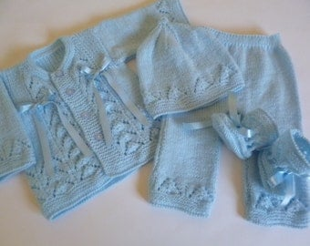 Knitted Baby Clothing.  Newborn Boy Outfit. Christening Newborn Outfit.   First Outfit. Newborn Ensemble. Baby Shower Gift