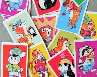 Vintage Snap Game, Snap Cards, Card Game, Children's Card Game, Animal Cards, Cute Kawaii Zakka, 1970s Card Deck, Vintage Craft Supply