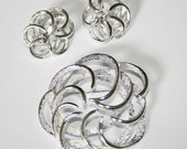 Sarah Coventry Tailored Swirl Brooch and Matching Earrings 1969