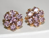 Lavender Rhinestone Screw Back Earrings
