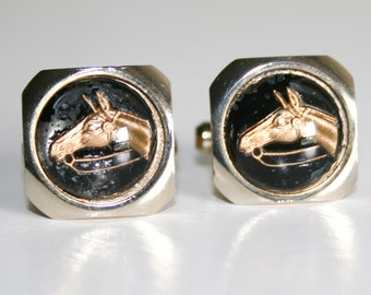 Derby Day Black and Gold Horse Cuff Links