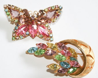 Butterfly and Basket Pastel Rhinestone Brooches