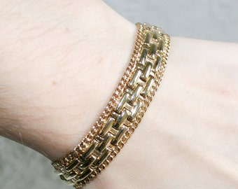 Gold Brick Design Bracelet
