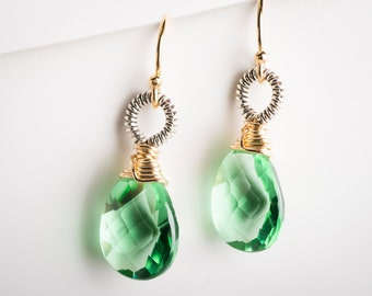 Erin: Green Quartz Gemstone Drop Earrings w/ Two-toned metal, Gold-filled & Oxidized Silver, Coiled, Small, Petite, Emerald, Elegant
