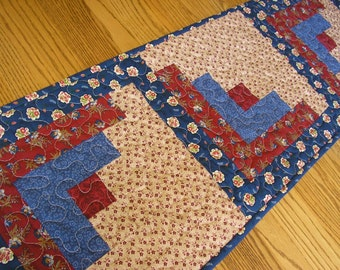 Quilted Table Runner, Dark Blues and Dark Reds Log Cabin Quilted Runner, 14 x 54 inches