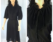 Vintage Sheer Black Long Sleeve Dress. Size 16. High Ruffled Collar. Elastic Waist. Simple Little Black Dress. Under 20 Dresses.
