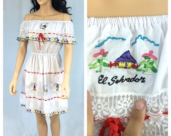 Vintage El Salvador Souvenir Dress. White Off the Shoulder Embroidered Dress. 1980s. Small Medium. Colorful. Peasant Dress. Under 20