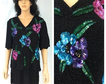 Vintage Black Beaded Blouse. Pink Purple Blue Floral Sequins. Fancy. Short Sleeve. Large X-Large. Wedding. Laurence Kazar. 1980s. Under 50.