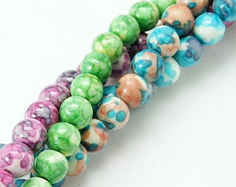 CLEARANCE  - Painted Jade Bead Mix - 10mm - 3  strands