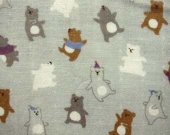Double Gauze Fabric - Japanese Cotton - Bears in Gray - Fat Quarter Cosmo Textiles LIMITED YARDAGE