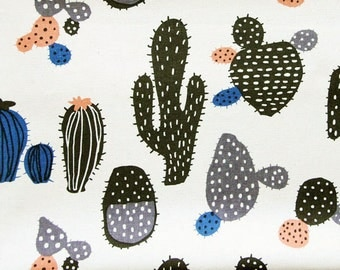 Cactus Print Fabric - Cotton Linen Blend - Desert Plants on Natural - Fat Quarter