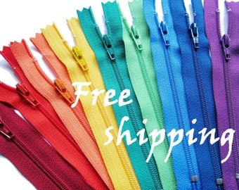 FREE SHIPPING 100 pieces 22 Inch YKK Zippers Mix & Match Zippers choose your colors / #3 nylon coil closed-end Zippers