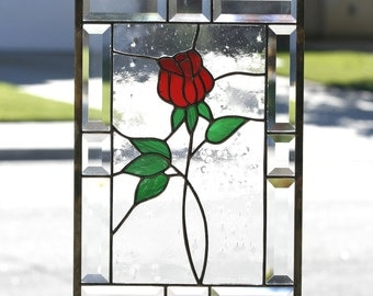 RED ROSE - Contemporary Stained Glass Window Panel, American Beauty Rose, Clear Bevels,  Romantic, Stained Glass, Stain Glass, Ready to Ship