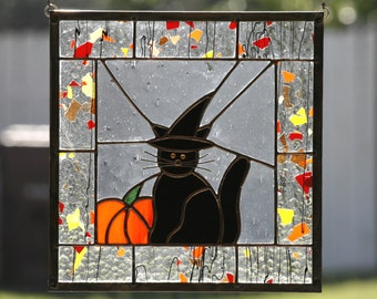 HALLOWEEN CAT-Stained Glass Window Panel with Black Cat & Witch Hat, Halloween, Stain Glass, Orange, Black Cat, Pumpkin