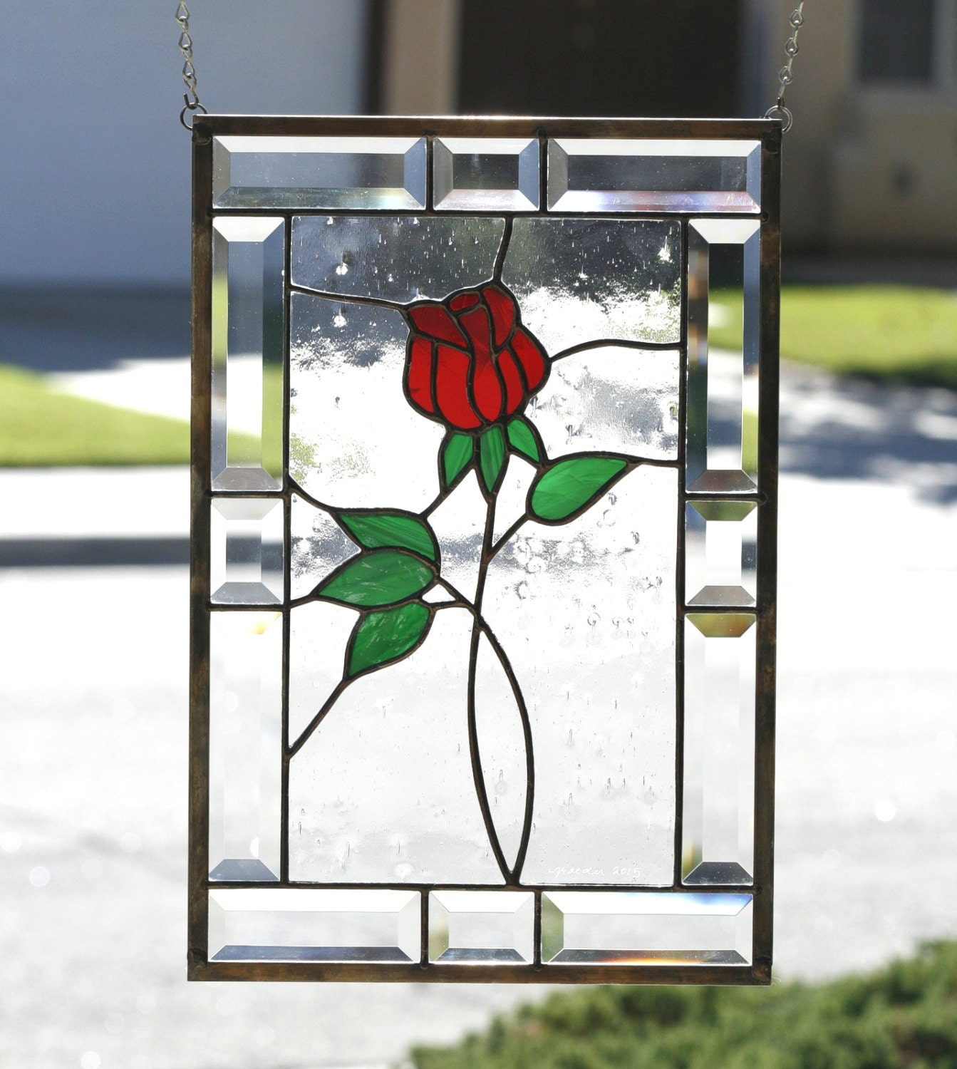 Red rose contemporary stained glass window panel american for Rose window design