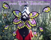 Durable Wearable Nightshade Purple Petal Shadow Watcher Fairy Wings by Spider Stitches With Chartreuse Eyes