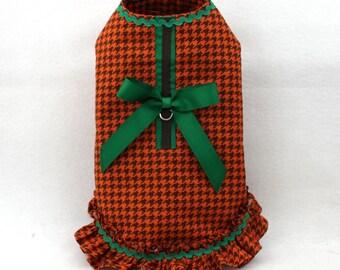 Dog Coat, Dog Jacket, Dog Harness, Coat for Small Dog, Fall, Dog Gift, Dog Clothes, Orange, Houndstooth