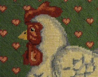 Finished Needlework Chicken in Basket with Eggs - Matted