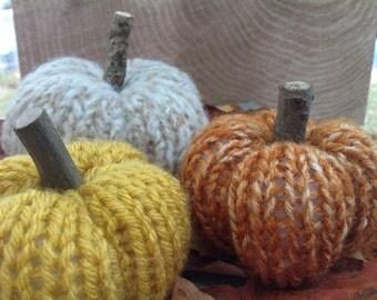3 Handmade Little Knit Pumpkins