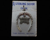 Vintage Horseshoe & Conestoga Sterling Silver Charm Pendant- Country Western Oregon Trail Lucky Charm- Fort Charm On Original Card NOS NIP