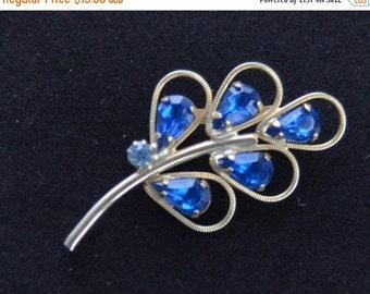 On sale Pretty Vintage Sapphire Blue, Light Blue Rhinestone, Gold tone Leaf Brooch (H2)