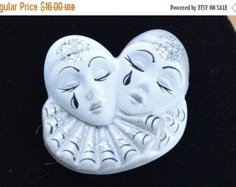 On Sale Pretty Vintage Porcelain White, Silver Clown Brooch, Pin, Circus Clown (N12)