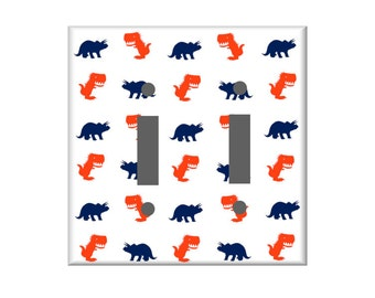 Dinosaur Switchplate Cover, Light Switch Cover Single, Triple Switchplate, Double switchplate, Your color choice