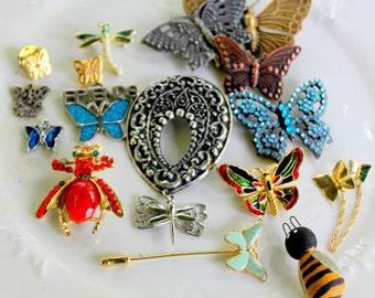 Vintage Brooch Lot BUG Bee Butterfly Dragonfly Crafting wear Repair
