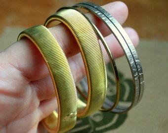 Vintage Bangle Bracelet lot gold tone