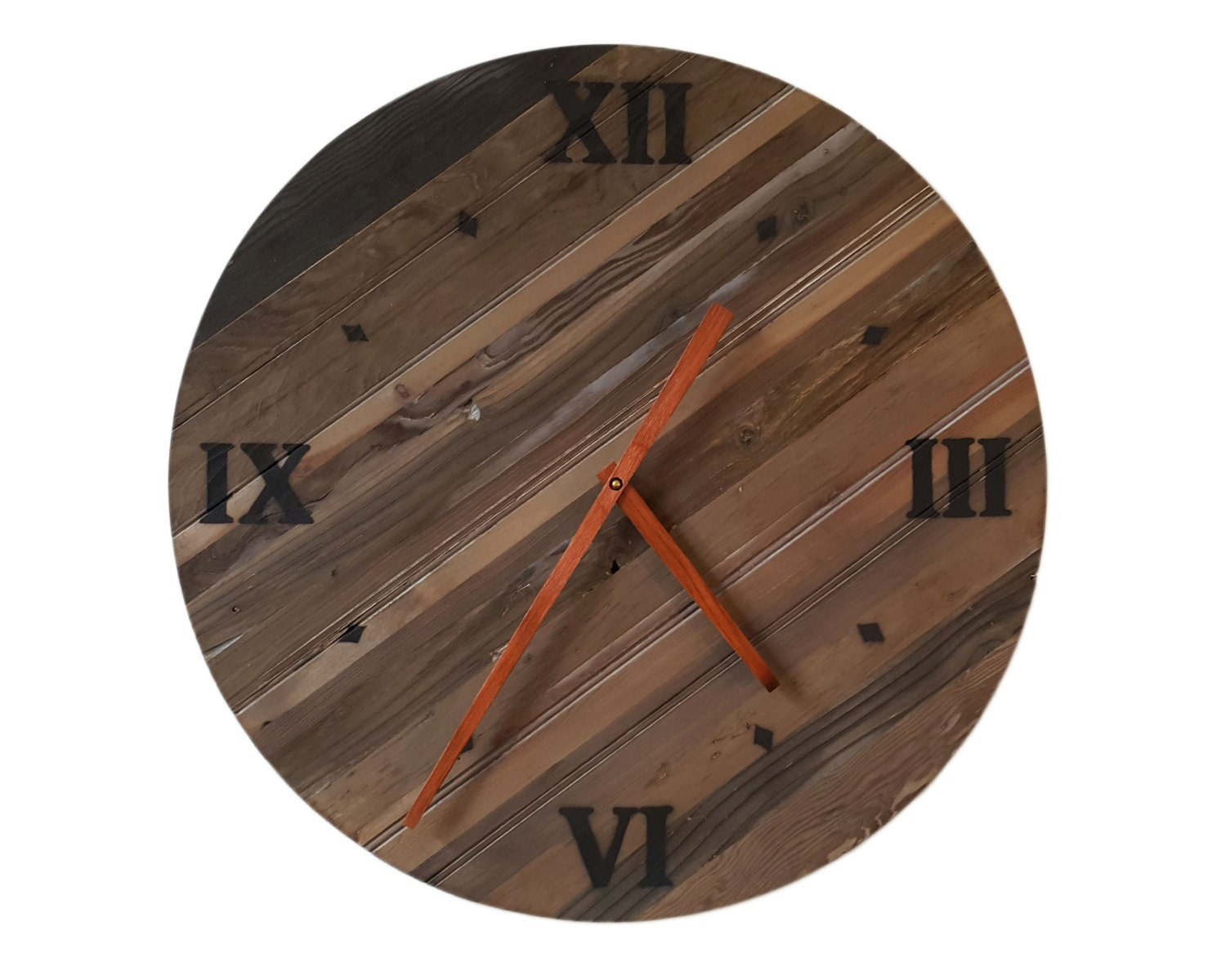 24 Inch Reclaimed Wood Wall Clock By Hilltopworkshop On Etsy