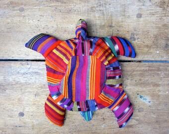Vintage Guatemalan TURTLE Child's Backpack Southwestern Woven Cotton Rucksack Colorful Ikat Animal Bucket Bag Small Kids Weekender Bag Folk