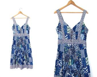 Vintage 70s Patchwork Dress Bohemian Sun dress Indigo Blue Floral Flower Boho Peasant Midi Dress Cotton Dress Lace Up Front Womens Medium