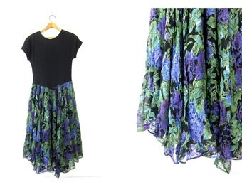 Black Floral Dress Boho Long short sleeves Purple Green Full Skirt Floral Print Graphic Print Skirt Dress Womens size Medium