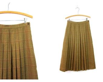 Tan Brown Wool Skirt School Girl PLEATED High Waisted 1990s Preppy Fal Plaid Pleat Kilt Skirt Vintage Midi English Skirt Size 8 Medium