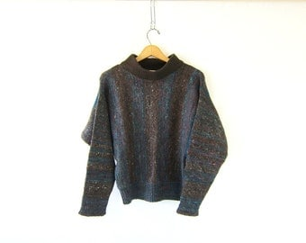 Vintage brown and blue sweater WOOL & SILK sweater mock neck knit pullover batwing top womens sweater Size M L