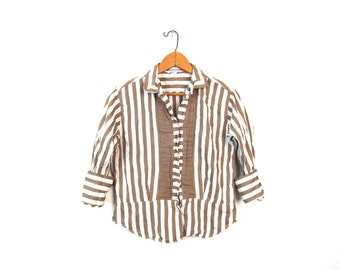 Striped 50s Shirt Striped White Brown Cropped Shirt Long Sleeve Blouse Bohemian Mod Tomboy Top Tailored Pleated Louannes Vintage XS