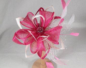SUMMER SALE A pink and ivory fascinator