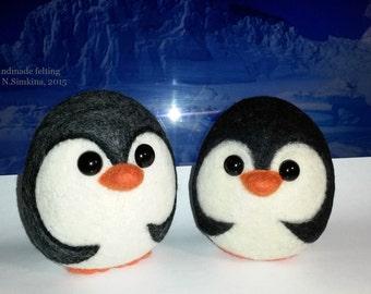 Soft penguin natural wool handmade soft toy 1 pcs.